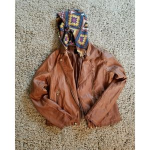 Leather coat with a printed hoodie